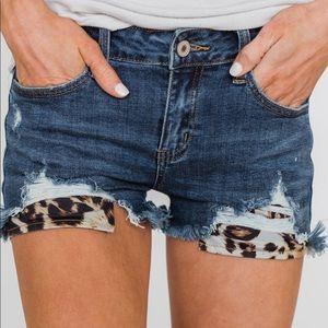 KanCan Leopard Pocket Shorts